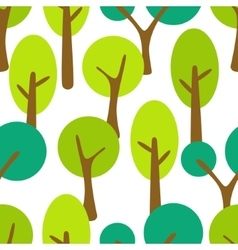 Stylized cartoon tree forest seamless pattern vector