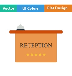 Flat design icon of reception desk vector