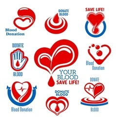 Hearts blood drops hand icons for medical design vector