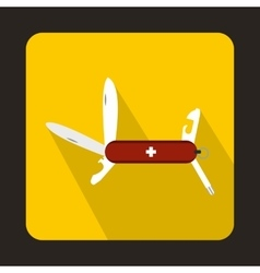 Swiss multipurpose knife icon flat style vector
