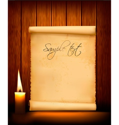 background with old paper and candle vector image vector image