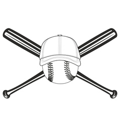 ball and crossed bat vector image