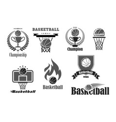basketball championship award icons set vector image vector image