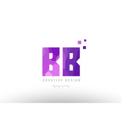 Bb b b pink alphabet letter logo combination with vector