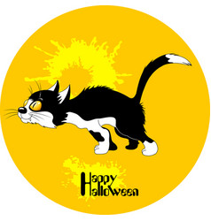 Black cat halloween vector