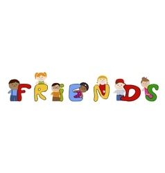 Children friends Muliracial friendship vector image