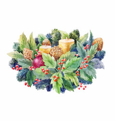 Christmas watercolor composition with holly vector