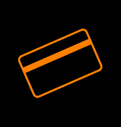 Credit card symbol for download orange icon on vector