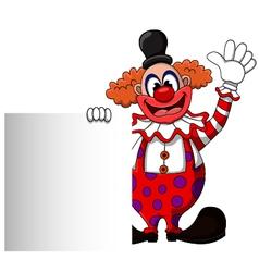 cute clown cartoon with blank sign vector image