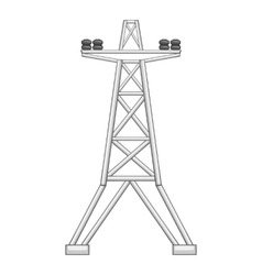 Electric line tower icon gray monochrome style vector