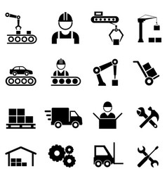 factory and manufacturing industry icons vector image vector image
