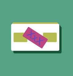 Flat icon design videocassette and xxx in sticker vector