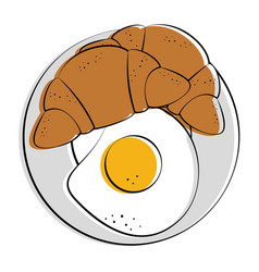 Fried egg and croissant food related image vector