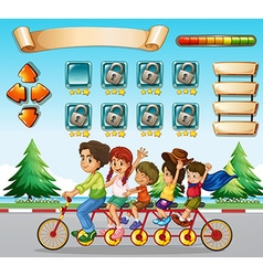 Game template with family riding bicycle vector image vector image