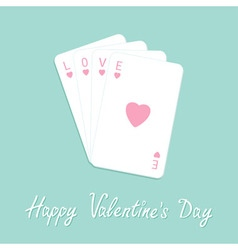 Happy Valentines Day Love card Poker playing card vector image vector image
