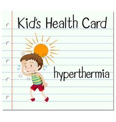 Health card with boy having hyperthermia vector