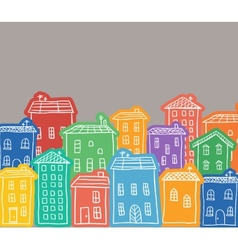 Houses colored doodles vector image vector image