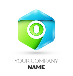 Letter o logo symbol in colorful hexagonal vector