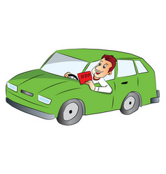 Man driving car and showing rap sign vector