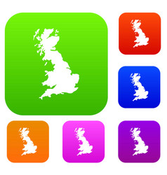 Map of great britain set collection vector