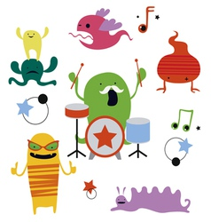 Monsters rock party vector image