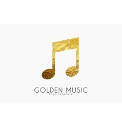 Music note golden note music logo design vector
