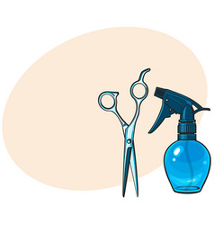 plastic hairdresser spray bottle and professional vector image vector image