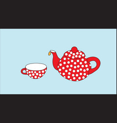 Red teapot and cup on a blue background vector