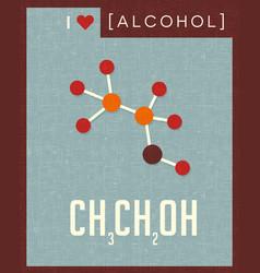 Retro poster of alcohol molecule vector