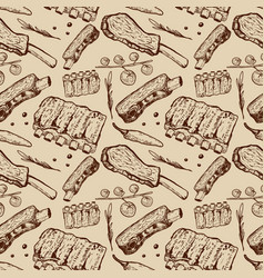 Seamless pattern with beef ribs butchery design vector