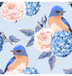 Seamless vintage flowers and birds vector image vector image