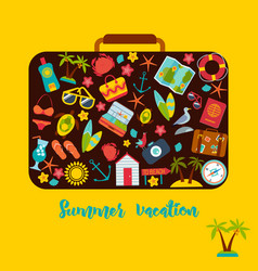 set of summer icons inside a suitcase vector image