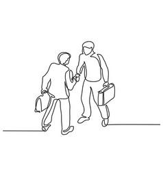 Two businessmen meeting handshake vector