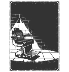 Vintage barbershop background with barber chair vector