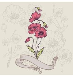 Vintage Poppy Card vector image vector image