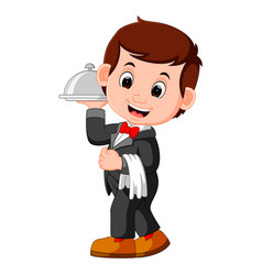 waiter restaurant serving cartoon vector image