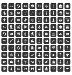 100 children icons set black vector image vector image