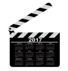 Calendar for 2017 movie clapper board vector