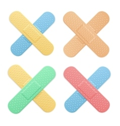Aid band plaster strip medical patch color cross vector