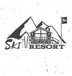 Ski resort concept with ski house vector image