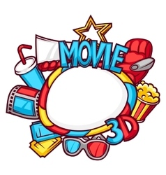 Cinema and 3d movie frame in cartoon style vector