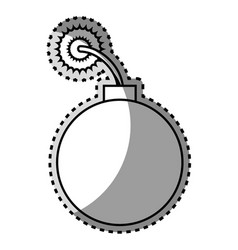 Monochrome contour sticker with bomb icon vector