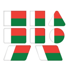 Buttons with flag of madagascar vector