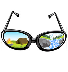 Spectacles and reflection of the nature vector
