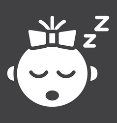 Baby girl sleep solid icon child and infant vector