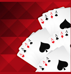 Red background with playing cards vector