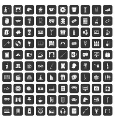 100 leisure icons set black vector