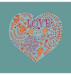 Floral heart Heart made of flowersDoodle Heart vector image