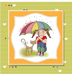 Young pretty girl and her cat friendship card vector