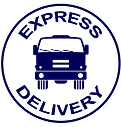 Express delivery stamp - truck silhouette vector